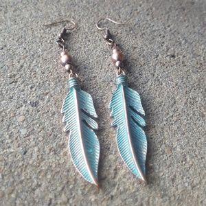 Boho Feather Earrings - Handmade
